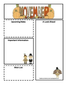 free november newsletter kindergarten classroom organization
