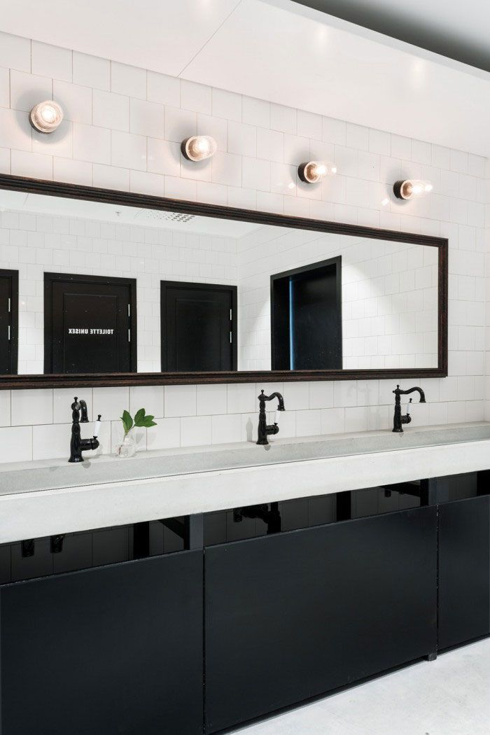 Industrial Minimalist Meets French Bistro And Nordic Influences Custom Ada Commercial Bathroom Minimalist
