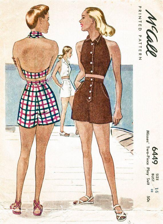 1940s 40s vintage beach playsuit sewing pattern halter high waist ...