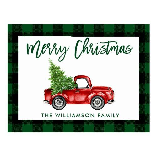 Green Brush Script Vintage Truck Christmas Plaid Postcard