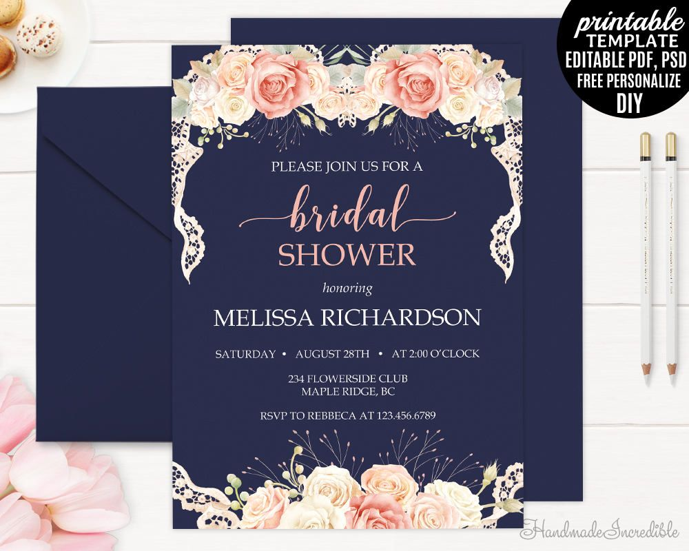 Cream Roses And Lace Bridal Shower Invitation Template Printable - Free printable rustic bridal shower invitation templates