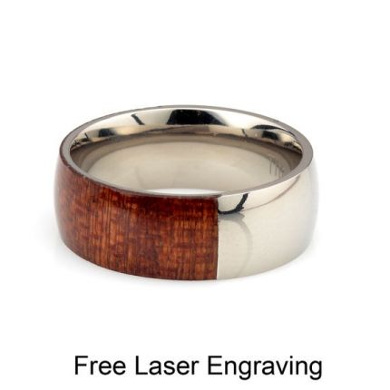 Mens-Titanium-Wooden-Wedding-Ring-Mahogany-Wood-inlay-halfwayFree-Custom-Engravingfree-gift-boxComfort-Fitwidth-8mmRing-Size-6-65-7-75-8-85-9-95-10-105-11-115-12-125-13Free-Custom-Laser-Engraving-Up-to-65-Characters-or-Symbols
