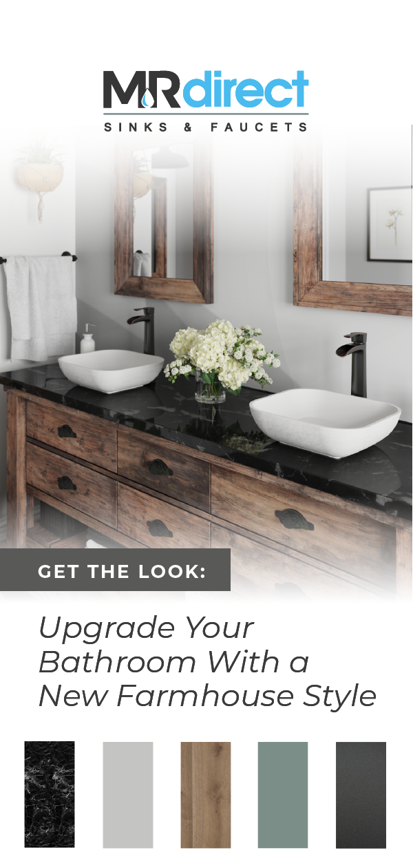 When it comes to a rustic farmhouse design, texture  plays a big role in the overall vibe. Enhance your rustic bathroom with a perfectly textured PolyStone vessel sink on top of a stone and rustic wooden mix vanity. Our PolyStone sinks feature a smooth basin, and textured exterior that will add a chic and elegant edge to your farmhouse decor. Explore our collection of various styles and colors. Be inspired and upgrade your bathroom. #farmhousedecor #bathroomideas #bathroomdecor #decorideas