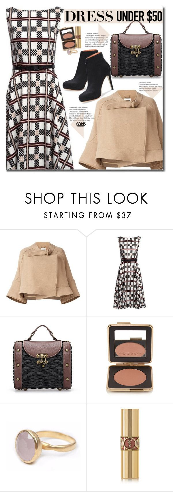 """Yoins Dress Under $50"" by beebeely-look ❤ liked on Polyvore featuring Chloé, Estée Lauder, Bohemia, Yves Saint Laurent, cape, fallfashion, camelcoat, yoins and Dressunder50"