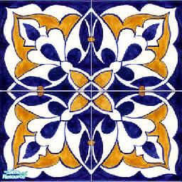 blue and yellow spanish tiles