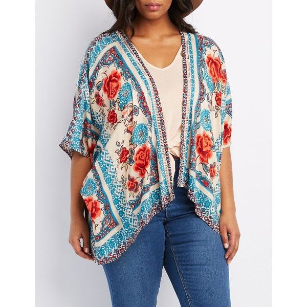 Charlotte Russe Floral Print Kimono ($31) ❤ liked on Polyvore featuring plus size women's fashion, plus size clothing, plus size intimates, plus size robes, beige combo, plus size kimono robe, plus size kimono, lace kimono robe, kimono robe and sheer kimono robe