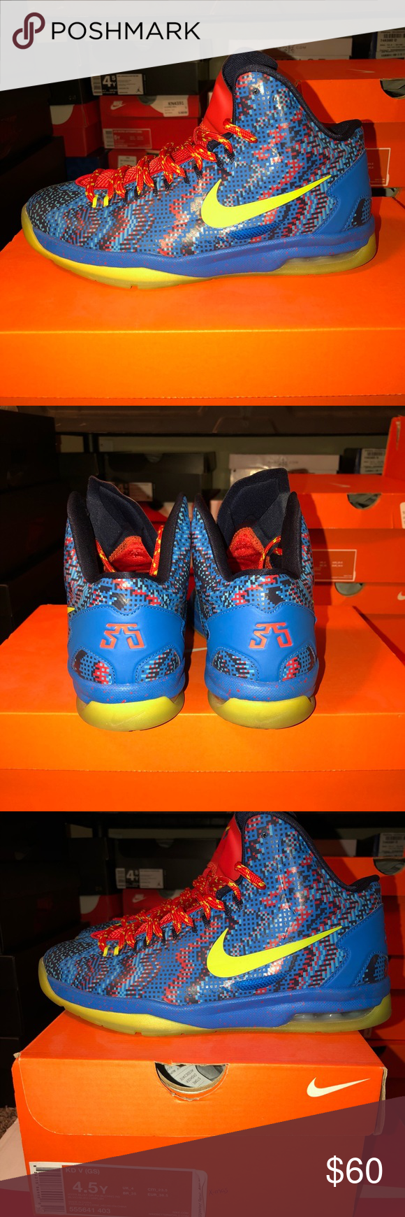 "23e676cb76b8 Nike KD 5 ""Christmas"" Kevin Durant size 4.5 GS Gradeschool size 5 9 10  condition Worn twice"