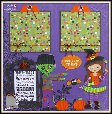 DT Sukie @ Twine It Up! by Annie's Paper Boutique created a Super fun Halloween layout using Orange Licorice Trendy Twine and  Trendy Page Dots.
