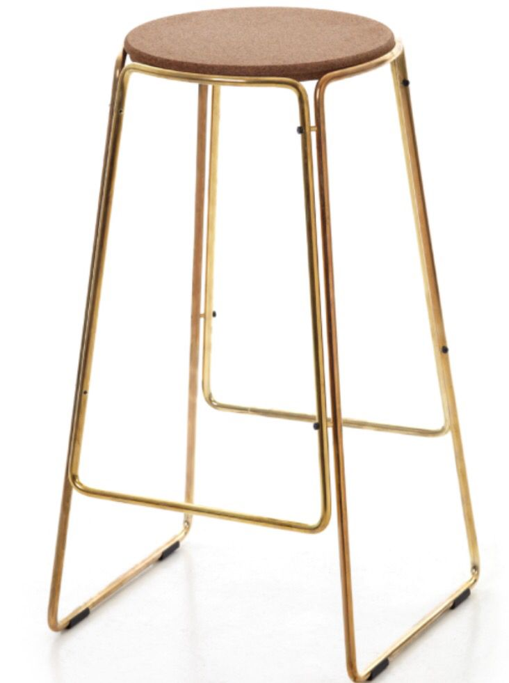 Found My Bar Stools Brass With A Cork Seat Popular Interior Design Furnishings Black Kitchen Cabinets