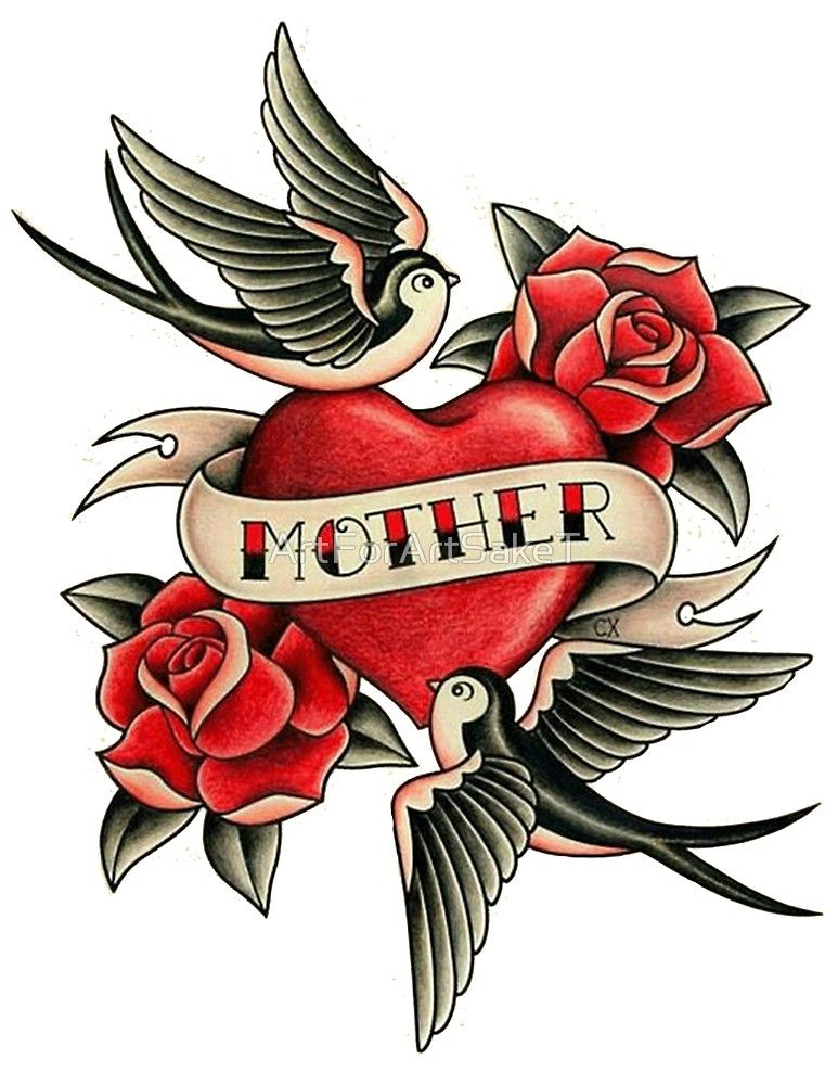 dd4838a55 Sailor Jerry Traditional Tattoo - Mother with Heart, Sparrows and Roses by  ArtForArtSakeT