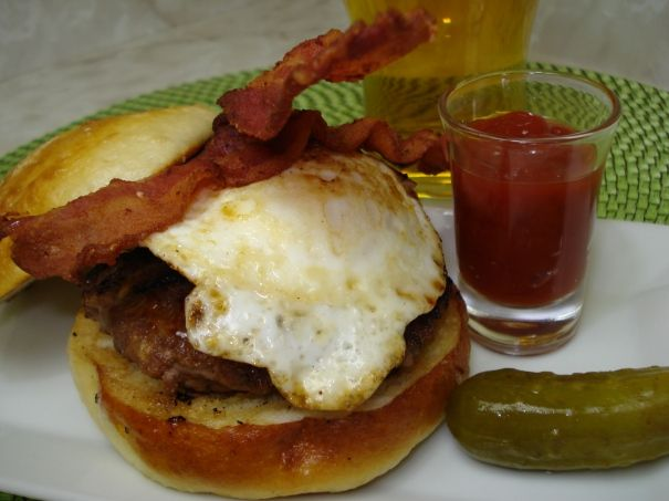 Sausage & Beef Burger with Pickled Ginger, Bacon & Egg
