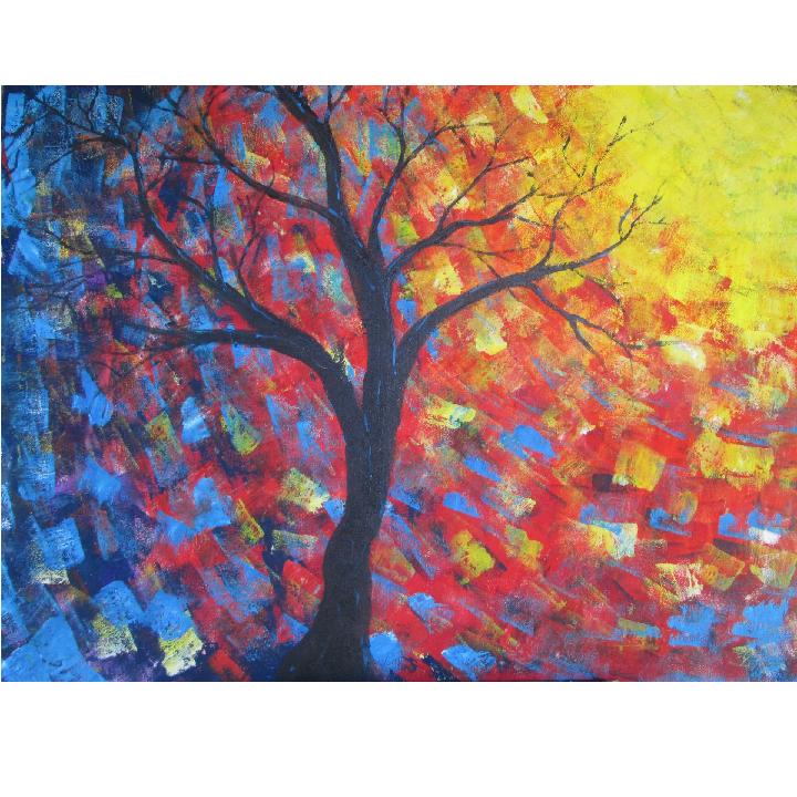 Reaching for the Sun, original acrylic painting by Kris Fairchild