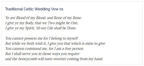 Traditional celtic wedding vows