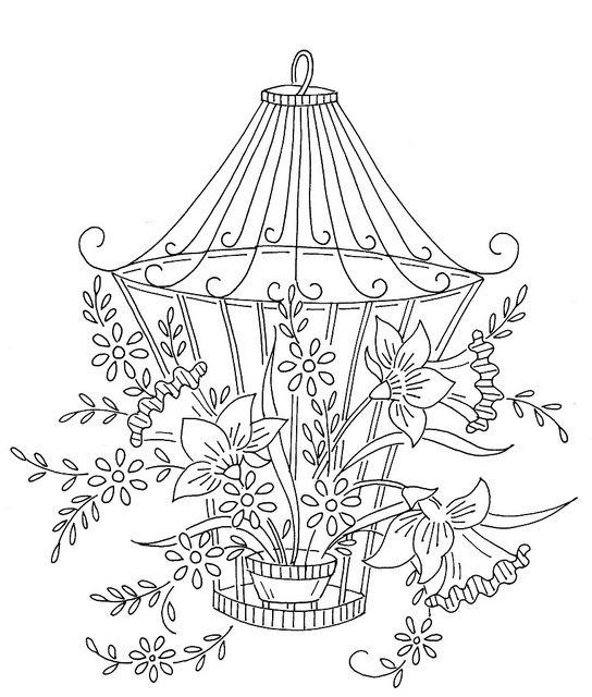 flowers with lantern | Bordado, Dibujo y Patrones