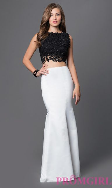 Z Fashion Trend Black And White Two Piece Prom Dress Cute Outfits