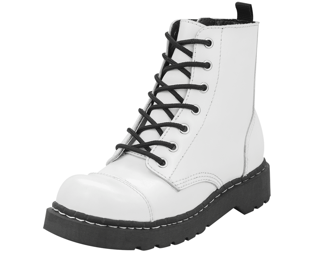 White Combat Boots - Cr Boot