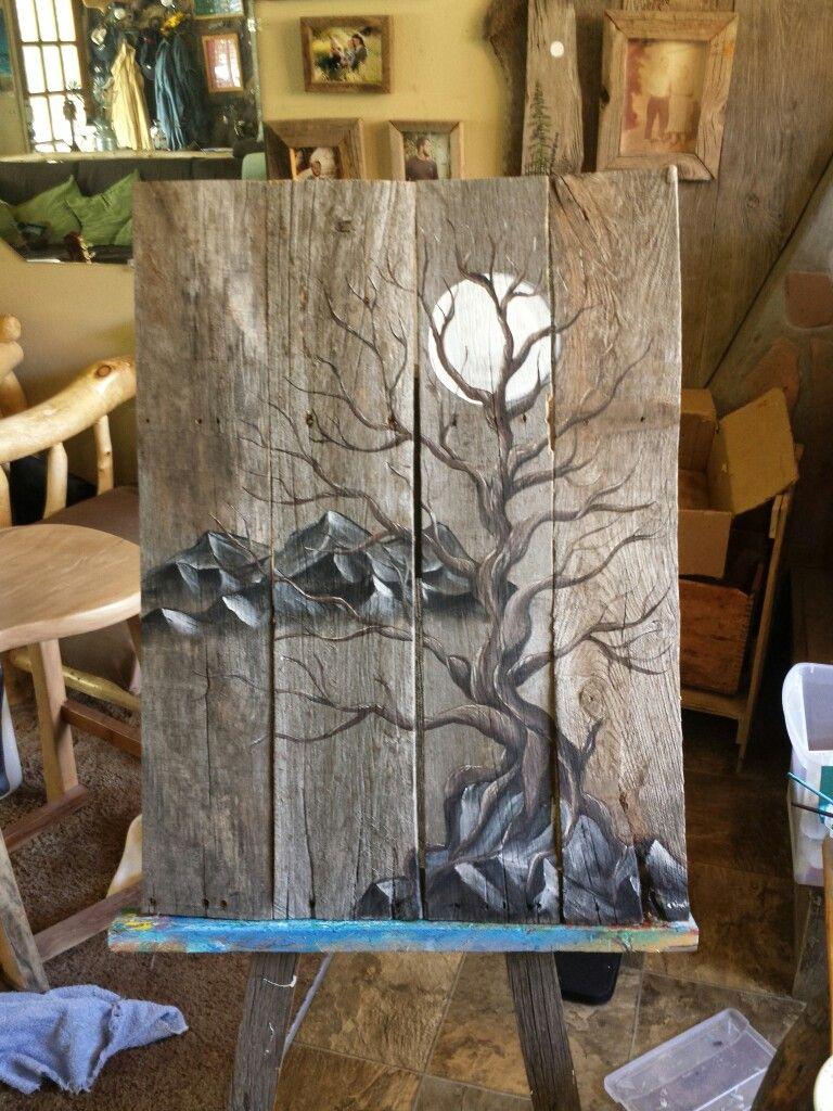 Pallet wood barnwood of a mountain scene