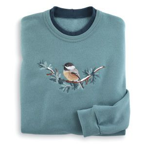 Embroidered Chickadee Sweatshirt - Women's Clothing – Casual, Comfortable &  Colorful Styles – Plus Sizes