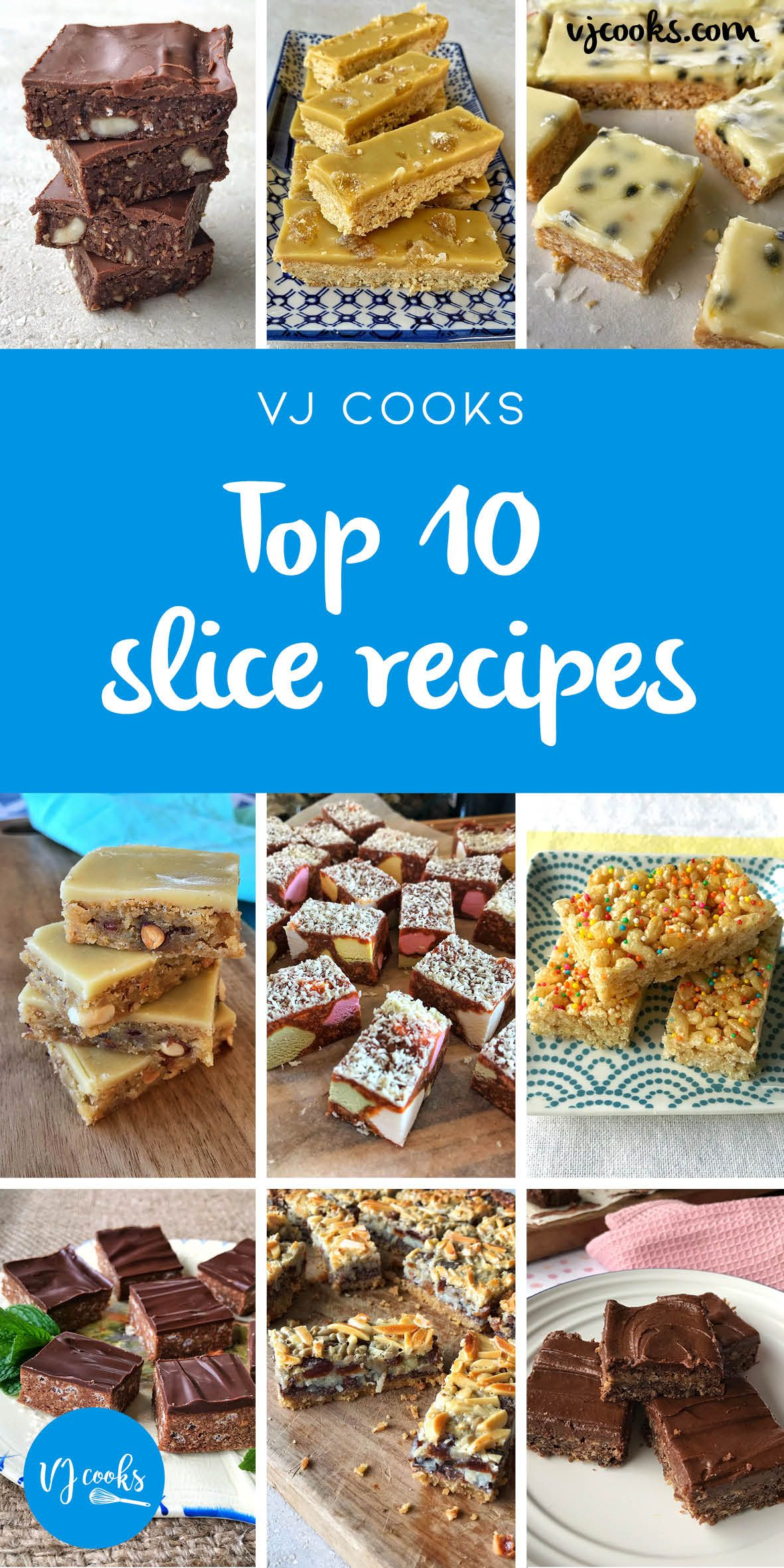 Top 10 Slice Recipes From Vj Cooks Slices Recipes Peppermint Slice Chocolate Slice