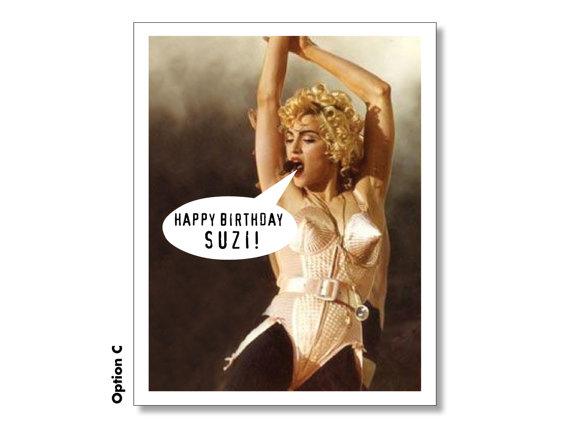 Madonna Happy Birthday Card Personalized Madonna Card Super