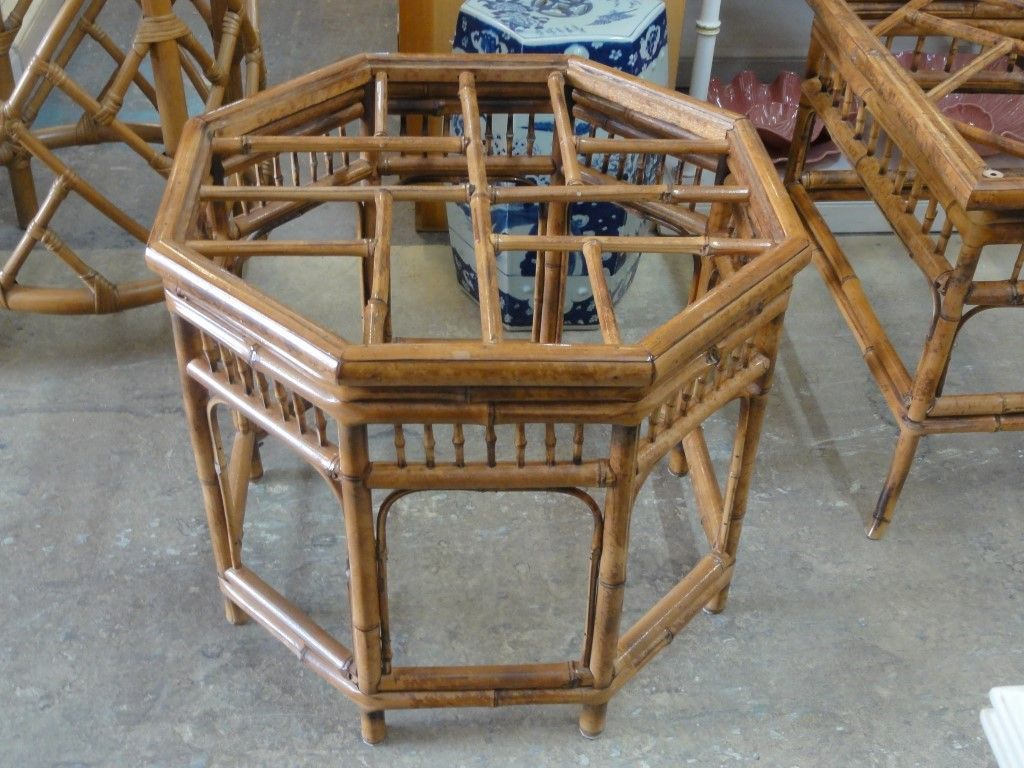Bamboo Chippendale Octagon Side Table Palm beach regency