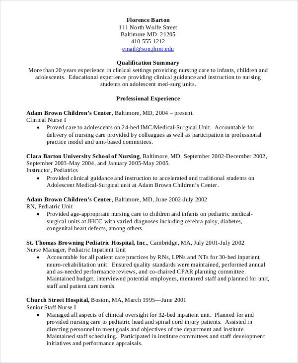 Resume Template Nursing Student 10