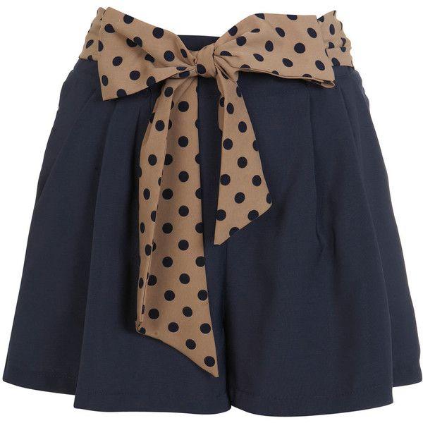 Navy Spotty Tie Shorts (185 NOK) ❤ liked on Polyvore featuring shorts, skirts, bottoms, saias, women, tie shorts, navy shorts, polka dot shorts, navy blue shorts i miss selfridge