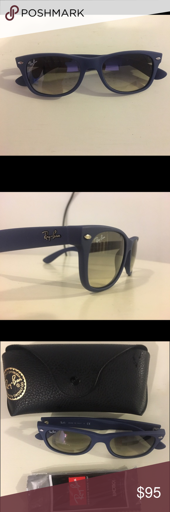 1a4edb7b03132 New Wayfarer Color Splash. Material  Blue Rubber Matte. Lenses  Light Grey  Gradient. Size  52018. Model Code  RB2132 New Wayfarer 811 32 Ray-Ban  Accessories ...