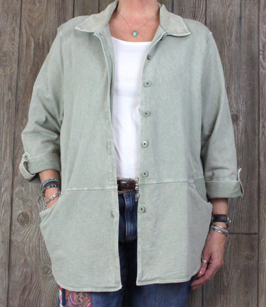 4c9e14607fcf Hot Cotton Marc Ware 1x size Sunwashed Green Shirt Jacket USA Made Plus  Cotton