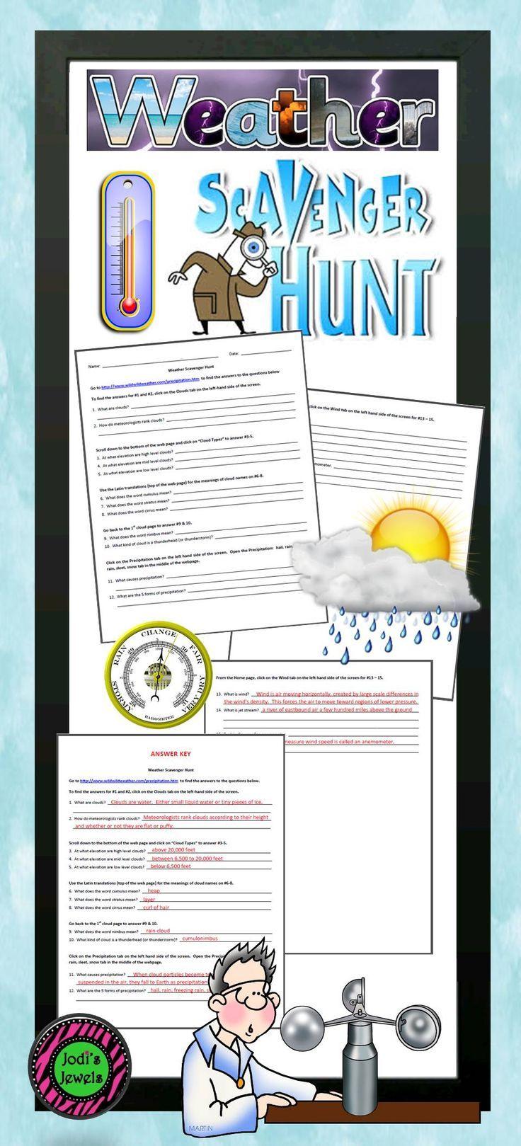 Internet Weather Scavenger Hunt Elementary Science Activities Elementary School Science Fun Science