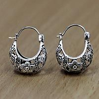 Sterling Silver Flower Earrings Baskets By Novica