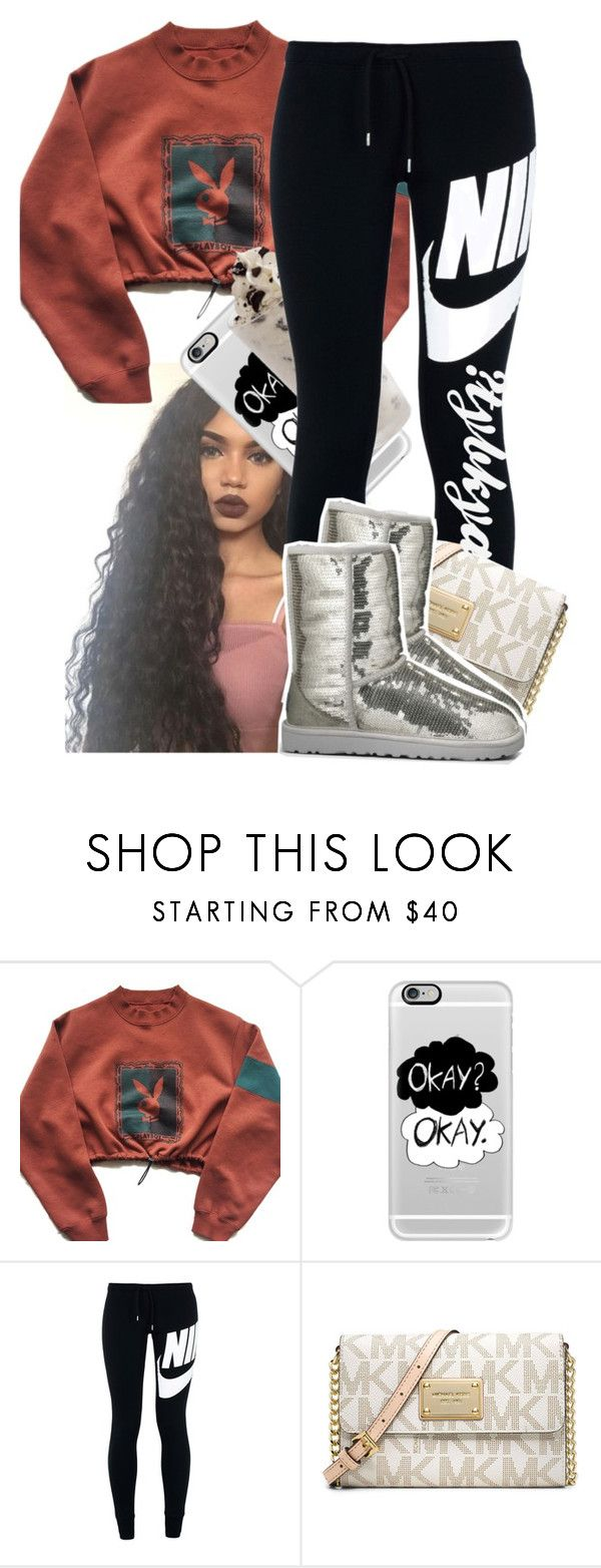 """you ain't gang"" by tybkya ❤ liked on Polyvore featuring Casetify, NIKE, Michael Kors and UGG Australia"