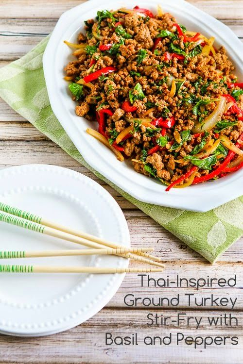 Thai-Inspired Ground Turkey Stir-Fry with Basil and Peppers (Low-Carb, Gluten-Free)  [from KalynsKitchen.com]