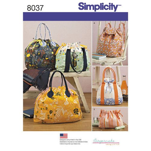 Simplicity Pattern 8037 Backpack, Totes and Cosmetic Bag