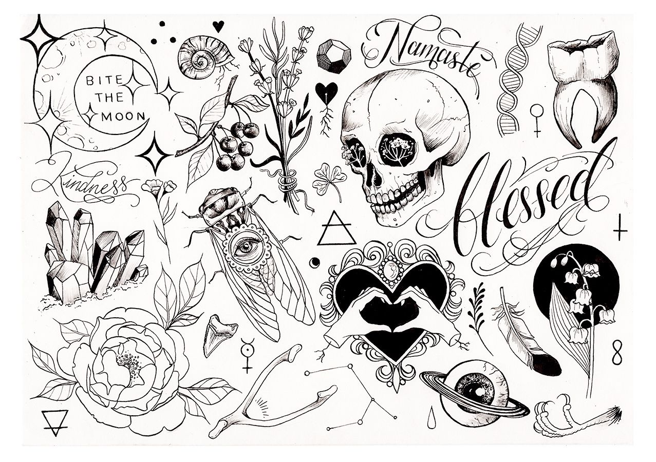 A Selection Of Tattoo Sketches I Am Now Apprenticing Under