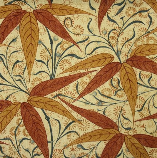 Bamboo Linen Fabric A Block Printed Inspired Featuring In Russet On Beige Fabricbamboowilliam Morriscinnamonlinenschocolate