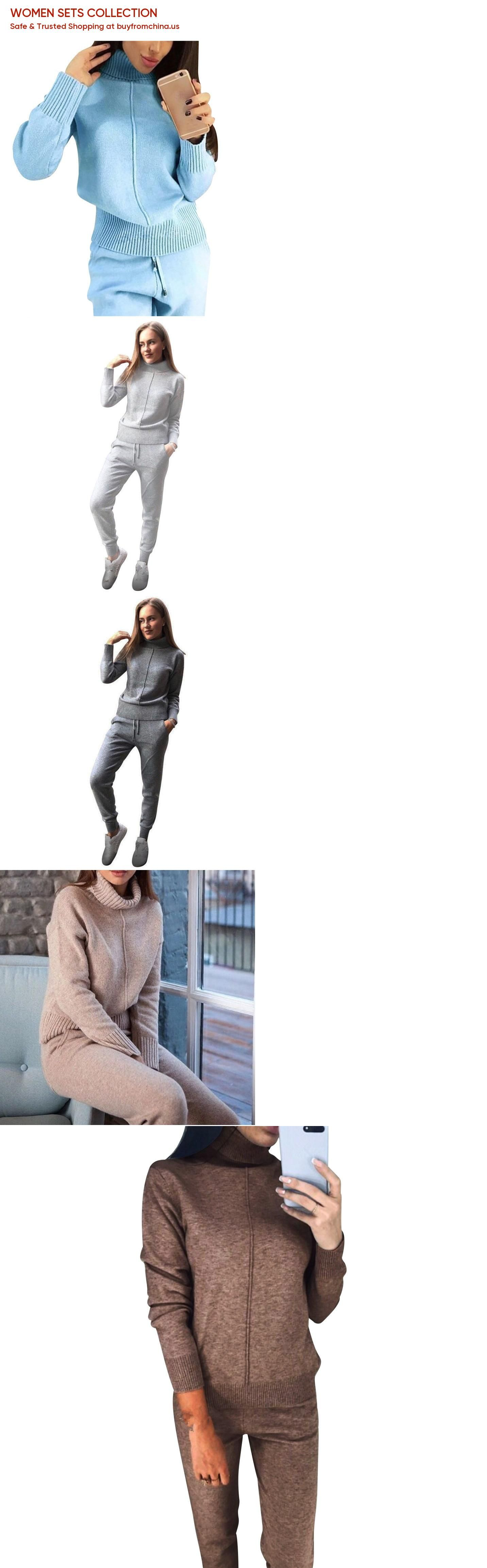 a2fbacae2d6ce Women Winter Woolen and Cashmere Knitted Warm Suit Turtleneck Sweater  Cashmere Pants Loose Two-piece Set Knit