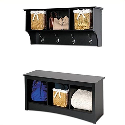 Outdoor Storage Benches - Prepac Sonoma Black Cubbie Bench and Wall ...