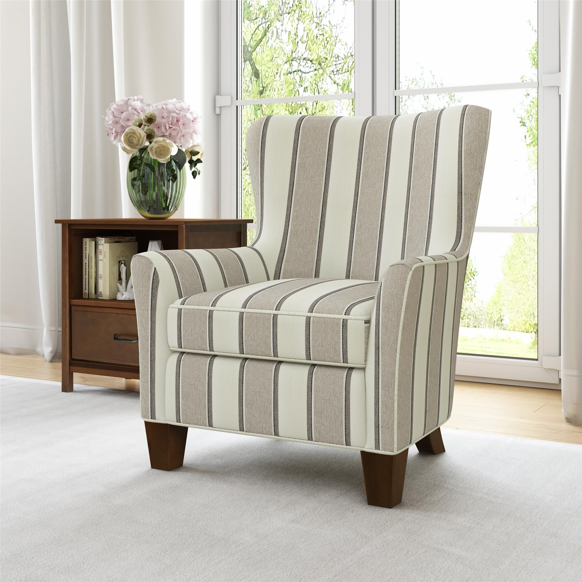 Better Homes Gardens Grayson Accent Chair Beige Stripe Walmart Com In 2020 Chair And Ottoman Set Classic Living Room Accent Chairs #striped #chairs #living #room