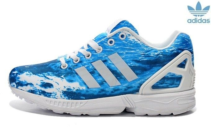 WomensMens Adidas ZX Flux Ocean Waves Blue White Unisex