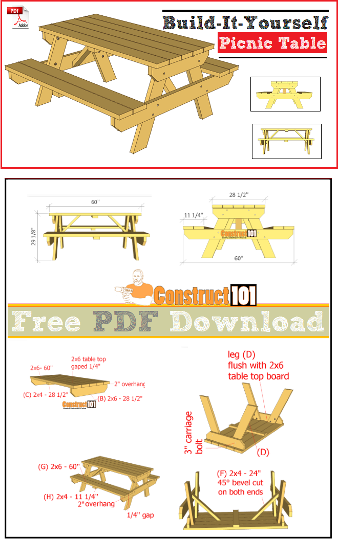 Traditional Picnic Table Plans - PDF Download en 2019 | DIY ...