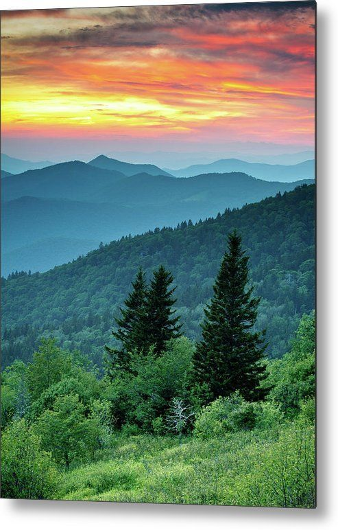 Blue Ridge Parkway Nc Landscape - Fire In The Mountains Metal Print by Dave Allen