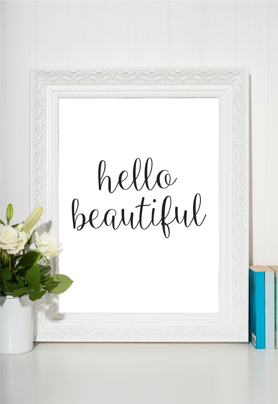 Hello beautiful print printable wall art bedroom wall art wall