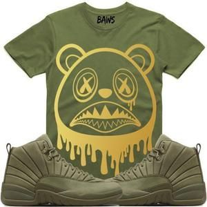 f149bec0aede5a Baws T-Shirt BAWS DRIP Olive Sneaker Tees Shirts - Jordan 12 Olive PSNY