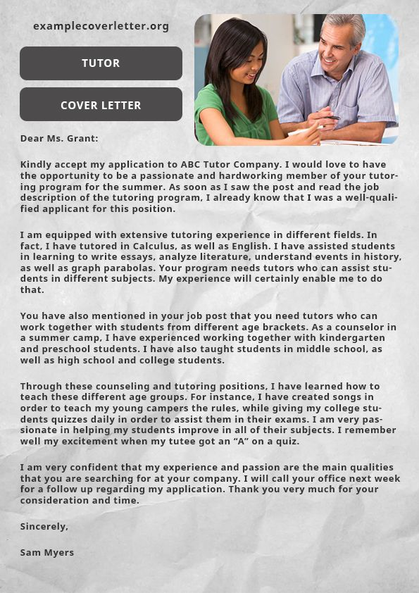 pin by example cover letter on tutor cover letter sample pinterest