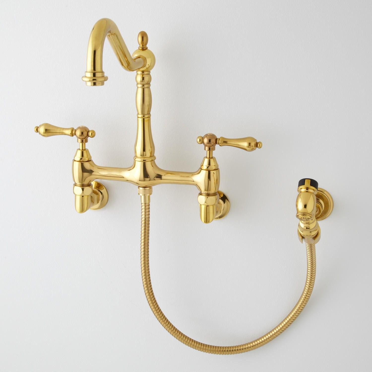 Felicity Wall Mount Kitchen Faucet With Side Spray Kitchen Wall Mount Kitchen Faucet Kitchen Faucet Faucet