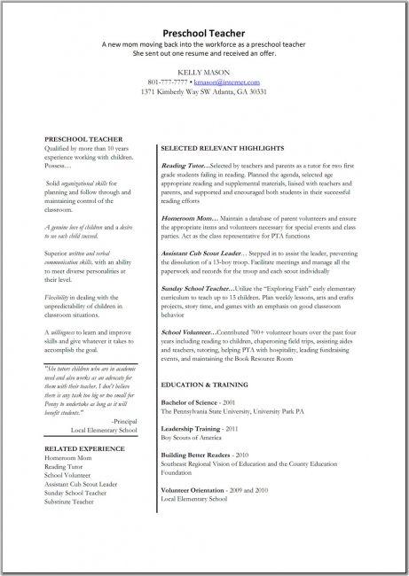resume for preschool teacher aide