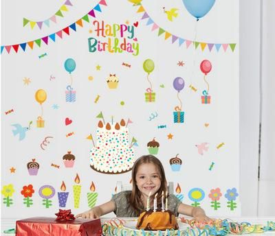 Diy Cartoon Happy Birthday Wall Sticker Flag Kids Rooms Home