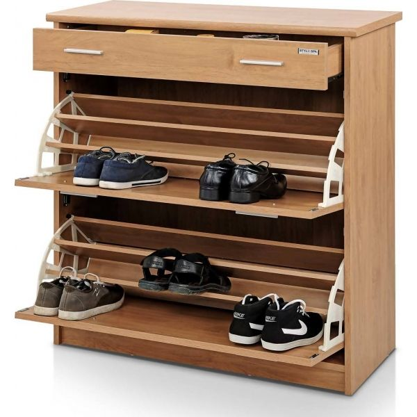 Shoe rack with natural finishing furniture pinterest for Disenos de zapateras de madera