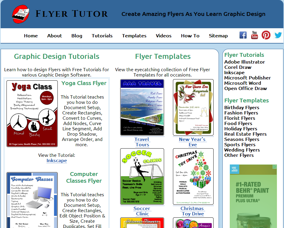 website that teaches flyer creation with corel draw inkscape adobe